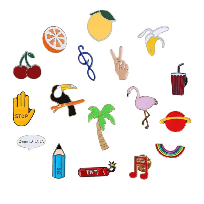 Broche creativo de dibujos animados con diseño de plátano, nota Musical, broches de flamenco, mochila de moda, Pin esmaltado, insignia, regalo de joyería