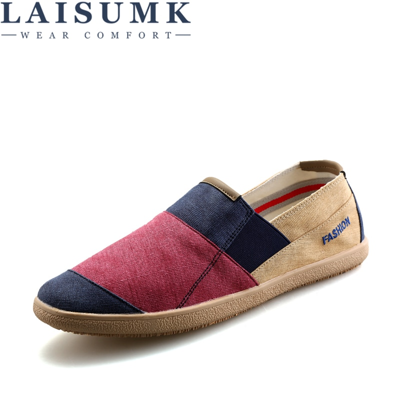 LAISUMK 2020 New Shoes Spring Men Casual Slip On Flats Breathable Canvas Footwear Patchwork Espadrilles