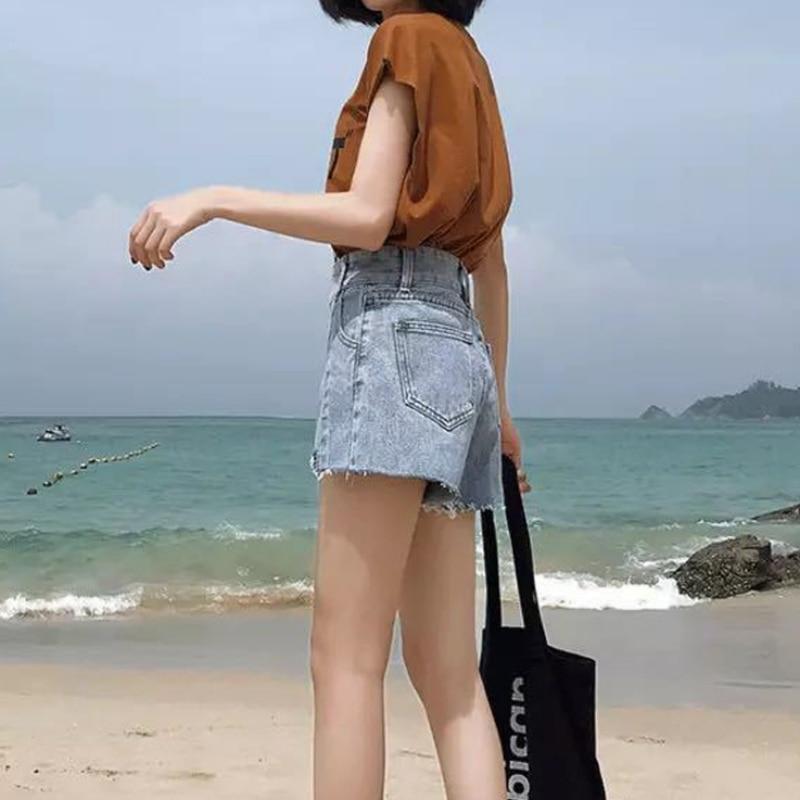 2019 jeans mujer moda Jean alta cintura deshilachado línea de dobladillo rasgado A-Line pantalones cortos de mezclilla sueltos