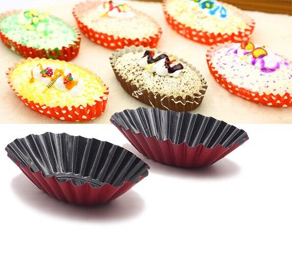 12-picec Disegno Scanalato Ovale Forma Stampo Da Crostata/Tortino Barattoli/Mini Torta di pan. Muffa della torta della muffa