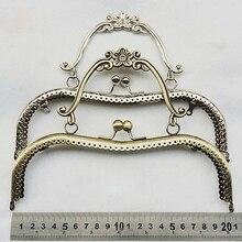 20.5 cm vintage élégant femmes sac à main cadre pochette fermoir avec poignée bricolage matériel accessoires moletage bouche or 3 pcs/lot