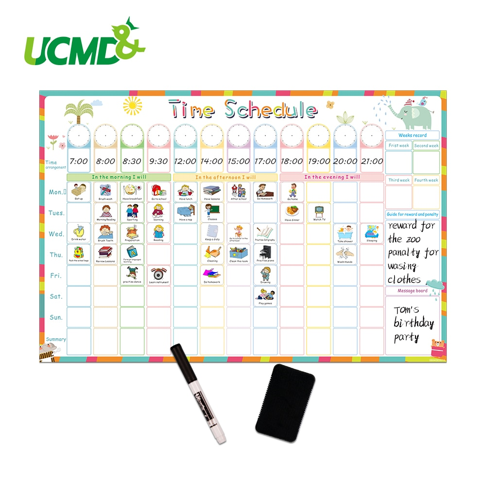 AliExpress - Magnetic Erasable Time Schedule Calendar WhiteBoard Chore Daily Weekly Planner Writing To-Do List Kids Reward Chart Wall Sticker