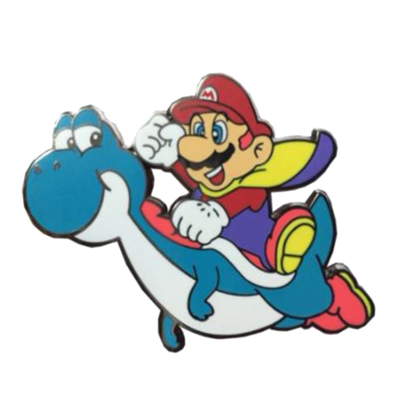 Mario passeio yoshi pino bonito dinossauro broche nintendo jogo crachá engraçado crianças presente casaco mochila decoração