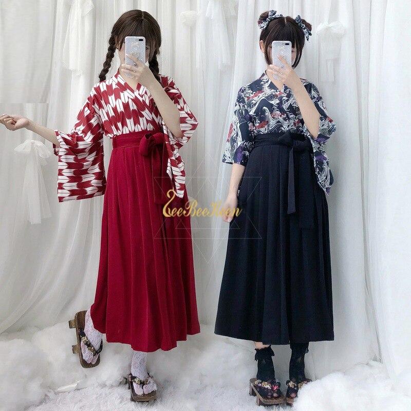 Anime Cosplay kimono jiu jitsu juego Cosplay disfraz para mujer estampado modificado Kimono Falda plisada niñas falda Kimono japonés