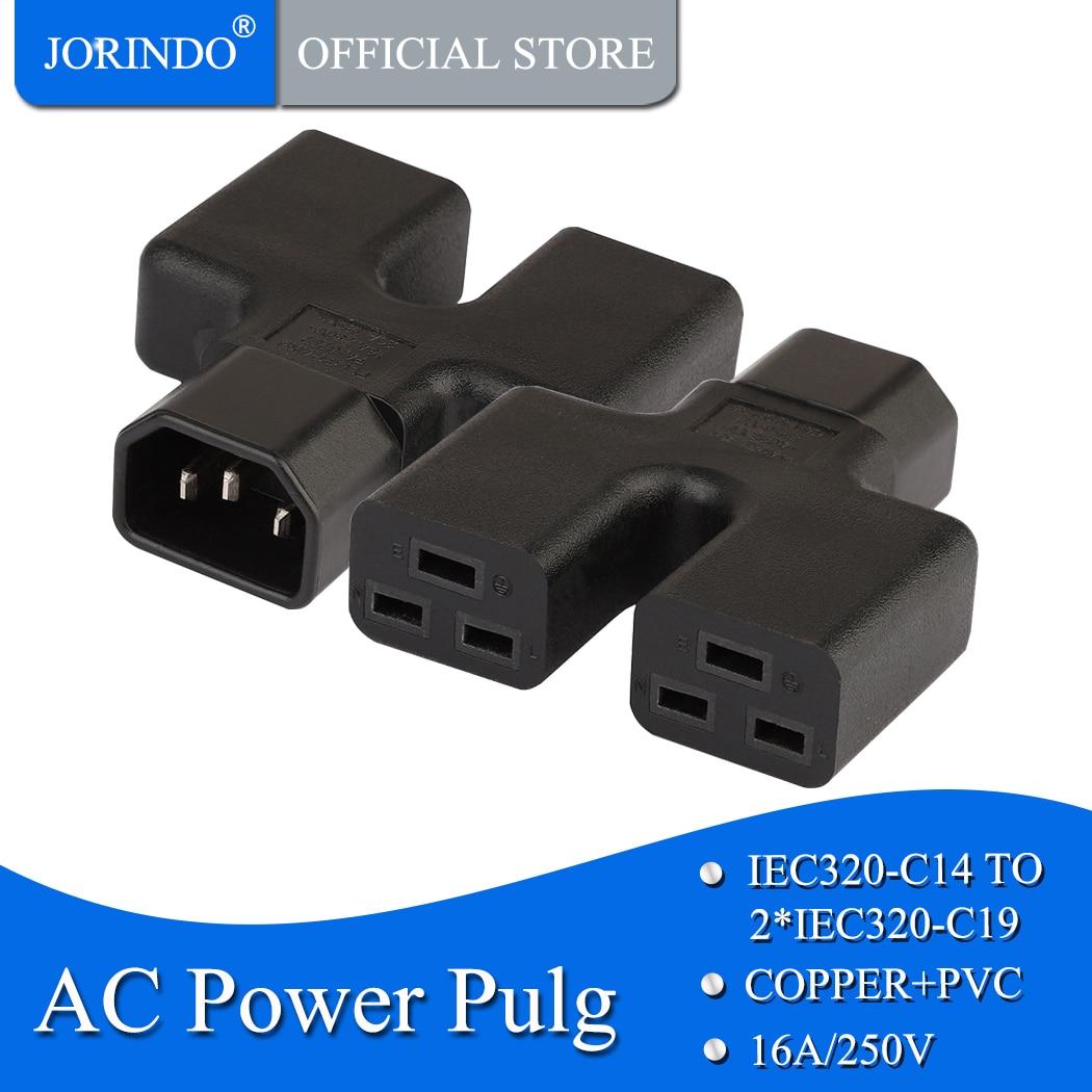 Joridno iec320 c14 para c19, iec 320 c14 macho para dupla 2 * c19 adaptador de energia fêmea, iec macho para 16a 20a ups adaptador de energia pdu