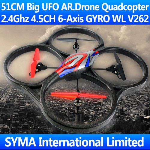 51CM Big 2.4G 4.5CH 6-Axis GYRO LCD Quadcopter WL V262 UFO VS Parrot AR.Drone 2.0 V222 U818A RC Helicopter Remote Control Toys