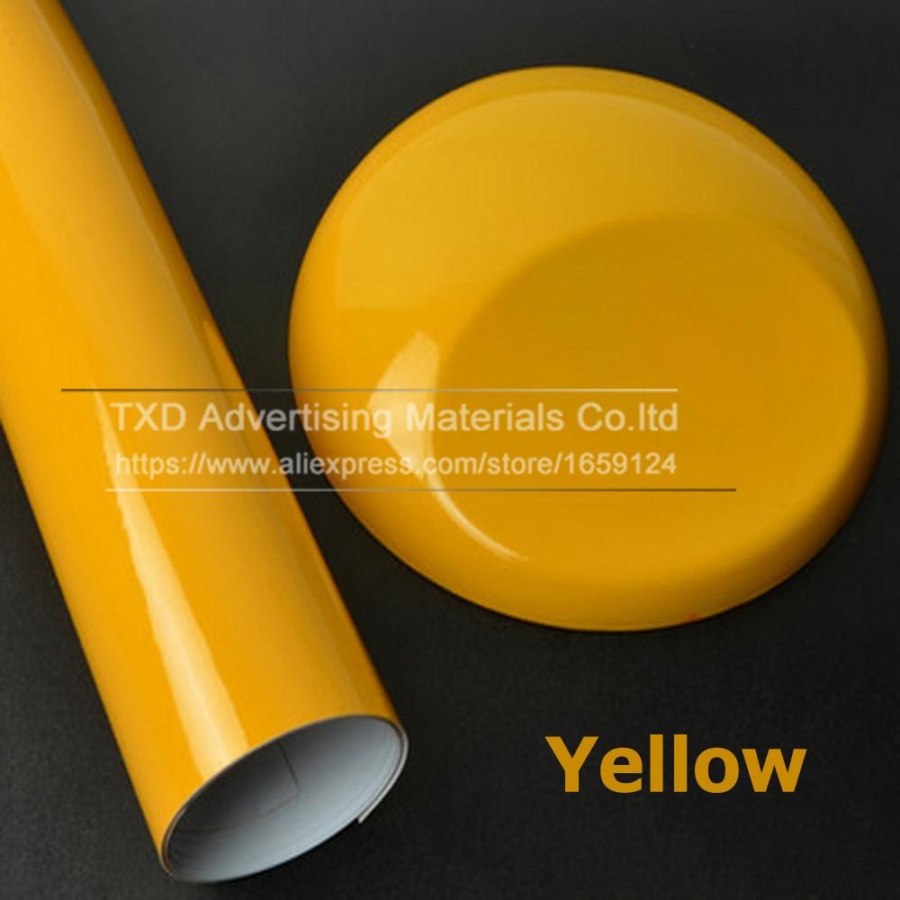 10/20/30/40/50/60x152CM amarillo vinilo brillante coche pegatina brillante película de envoltura de vinilo para HOOD techo coche vinilo brillante para coche decorar