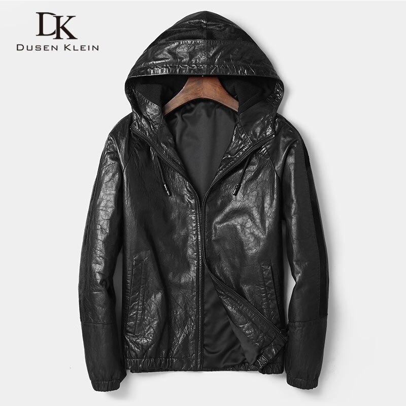 الرجال سترة جلدية حقيقية جلد الغنم قصيرة معطف مقنع ملابس خارجية سوداء 2018 جديد مصمم العلامة التجارية الفاخرة dk8113