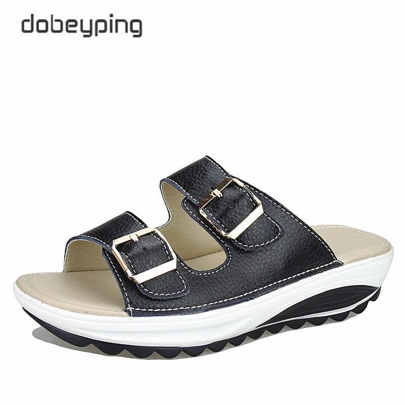 2017 sandálias femininas casuais de couro genuíno verão sapatos plataforma cunhas feminino slides praia flip flops tamanho 35-42