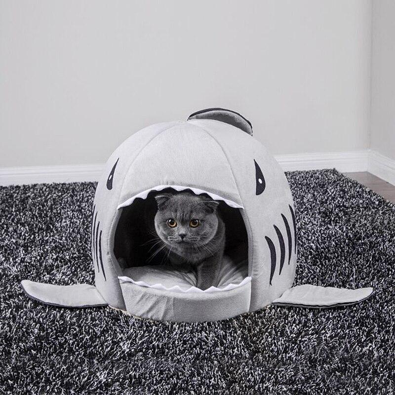 Gato do animal de estimação cama macia almofada do animal de estimação casa do cão tubarão para grandes cães tenda de alta qualidade algodão pequeno cão saco de dormir viagem produtos engrenagem