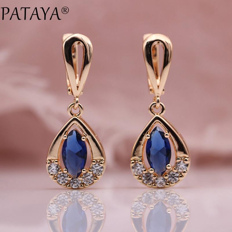 PATAYA Exclusive Design 585 Rose Gold Drop Earrings Horse Eye Rhombus Natural Zircon Earrings Women Party Wedding India Jewelry