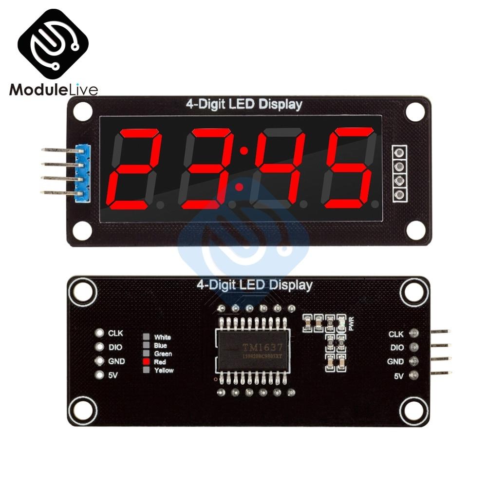 TM1637 0,56 pulgadas rojo 7 segmentos tubo Decimal 4 dígitos Digital LED pantalla tubo rojo reloj doble puntos módulo para placa Arduino