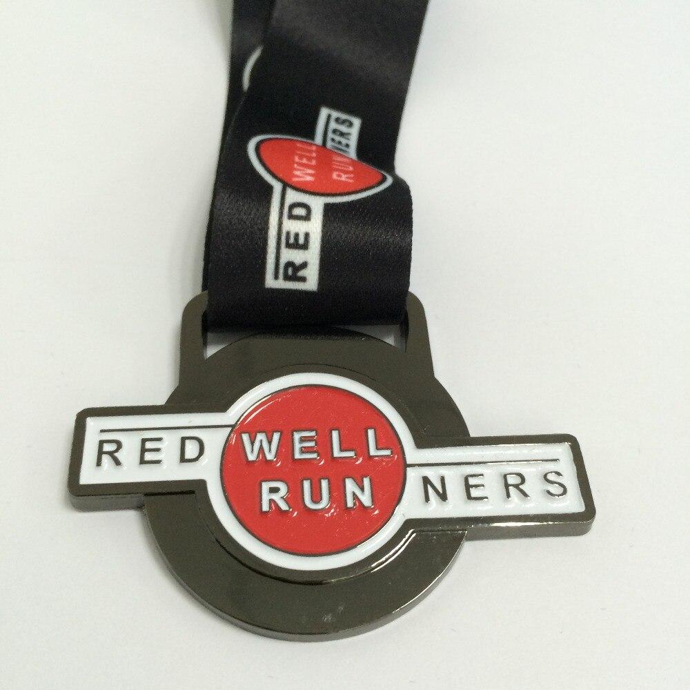 Gun Black Plating Zinc die cast custom made sports event medal  with medal lanyard --57.2mm diameter--200pcs