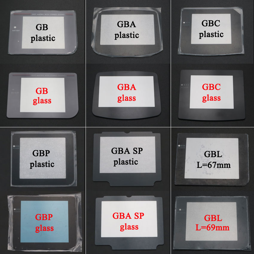 YuXi de plástico nuevo lente de vidrio para pantalla para Gameboy Color por adelantado para GB GBA SP GBC GBL lente para GBP Protector W/adhesivo