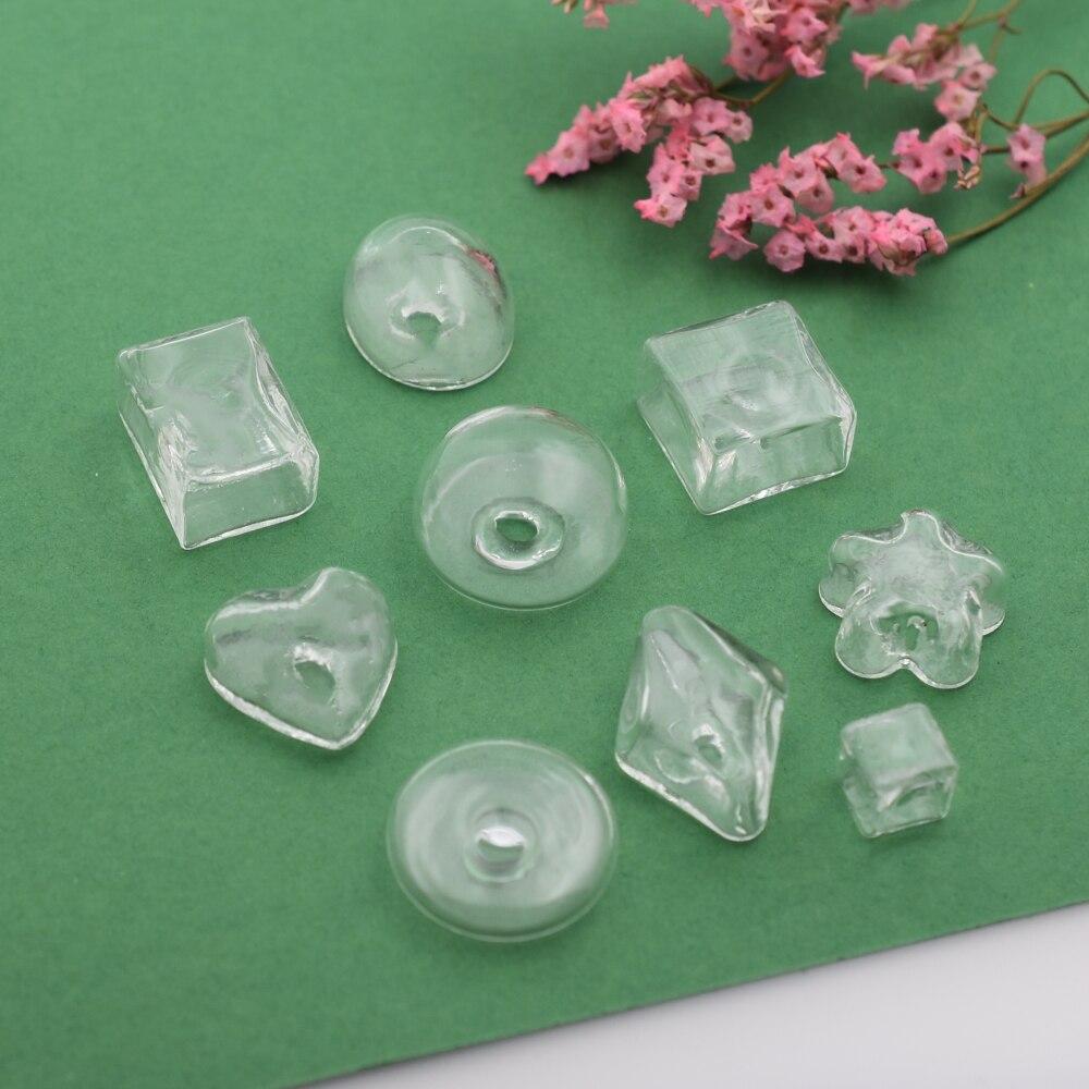 5 piezas de vidrio burbuja ampolla Globo de Cristal botella de vidrio cubierta hecha a mano joyería hallazgos para anillo de diferentes formas para seleccionar