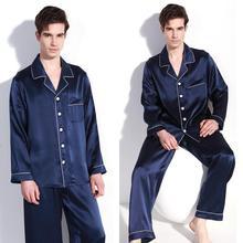 Buena calidad 100% de seda pura de los hombres set de pijamas camisón L XL 2XL YM009