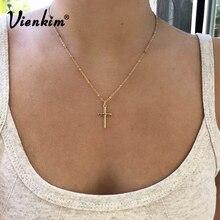 Vienkim 2019 été chaîne en or croix collier petite croix en or bijoux religieux collier pour femme