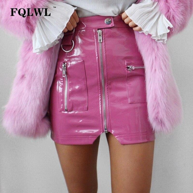 Женская юбка из искусственной кожи FQLWL, облегающая мини-юбка из латекса с карманами на молнии, белая и черная пикантная Клубная юбка-карандаш для лета