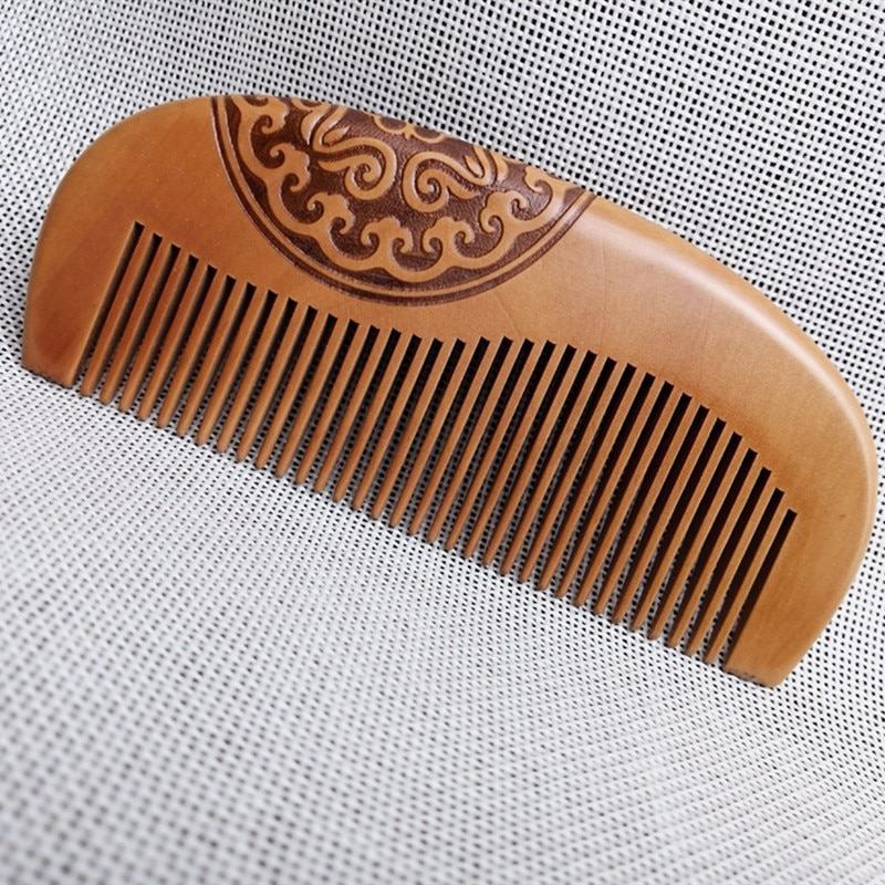 natural shen guibao wood buffalo horn exquisite thick long handle wooden comb coarse teeth hair massage no static combs Pocket Peach Wood Comb Anti-static  Hair Care Wooden Combs Natural Curved Sandalwood Head Massage Comb Salon Barber Styling Tool