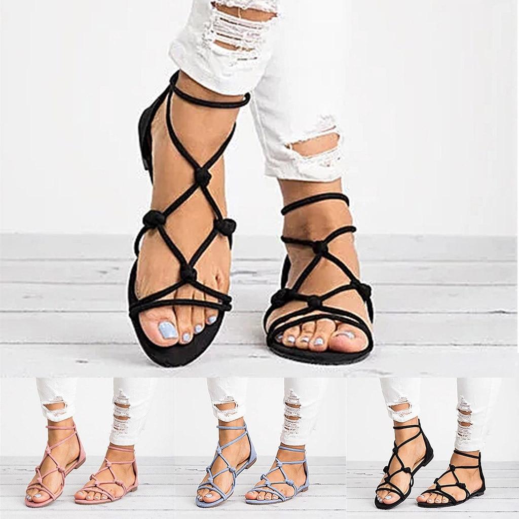 Sandalias de Mujer 2019 estilo Roma zapatos de torridez Sandalias de gladiador para Mujer Sandalias planas de Mujer Sandalias de playa para Mujer