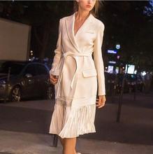 Femmes automne hiver mélange de laine Long blanc Double boutons élégant moderne Trench Slim vestes Parka vêtements dextérieur pour femmes Outcoat