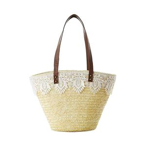 Women's Straw Bag Lace Single-shoulder Woven Bag Natural Fashionable Straw Made Beach Casual Handbag For Women