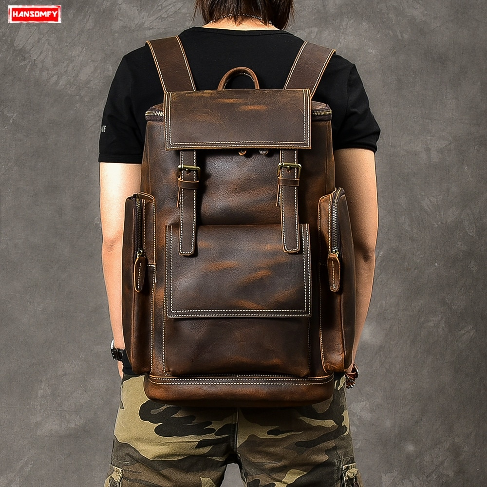 Retro Genuíno saco De Couro dos homens Mochila Grande Capacidade bolsa escola bolsa de laptop mochila masculino bolsa de ombro sacos de Viagem Mochilas de couro Marrom