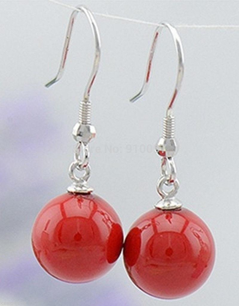 > Exquisito 10MM rojo perla de concha del Mar del Sur aretes colgantes redondos