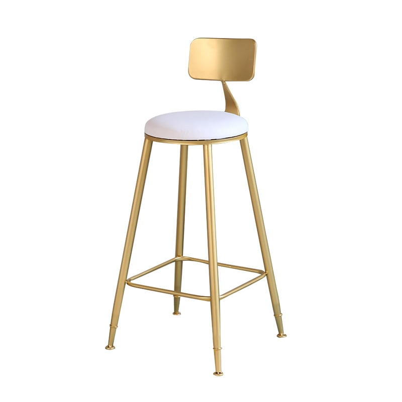 Nordic Gold High Back Bar Stool Casual Coffee Chair Creative Dining Bar Chair high quality 42cm 62cm 72cm nordic bar stool bar chair creative coffee chair gold high stoolgolden modern leisure metal chair