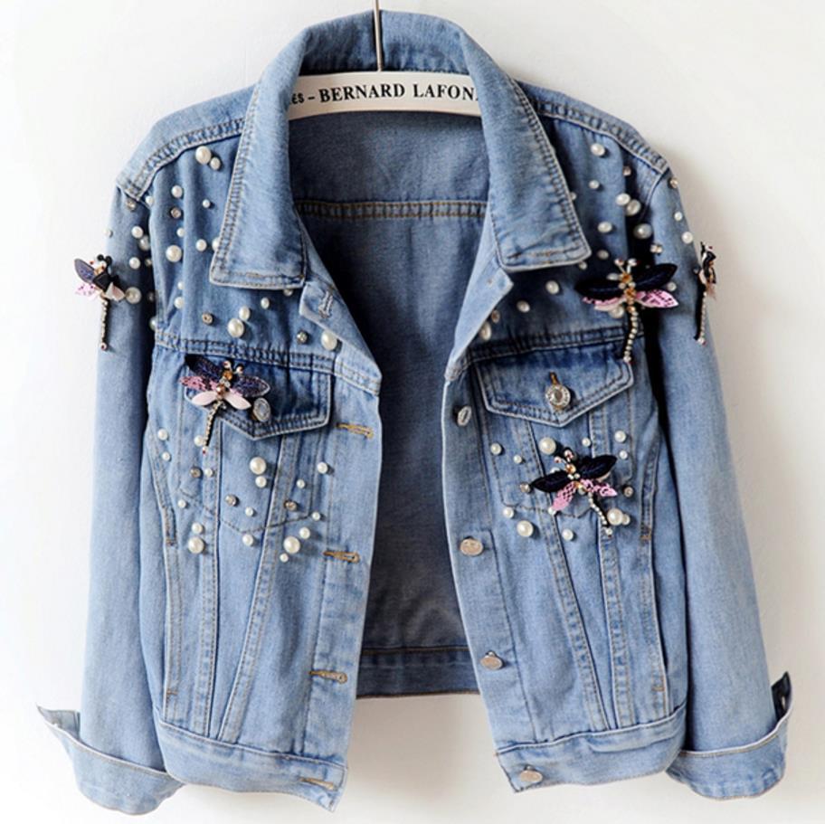 Новое поступление, короткие джинсовые куртки, винтажная Повседневная Женская куртка с бриллиантами