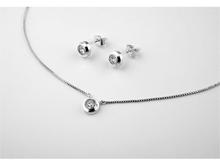 Conjunto de joyas de cristal de marca TongKwok cristal austriaco Stellux # RG860552-881142White