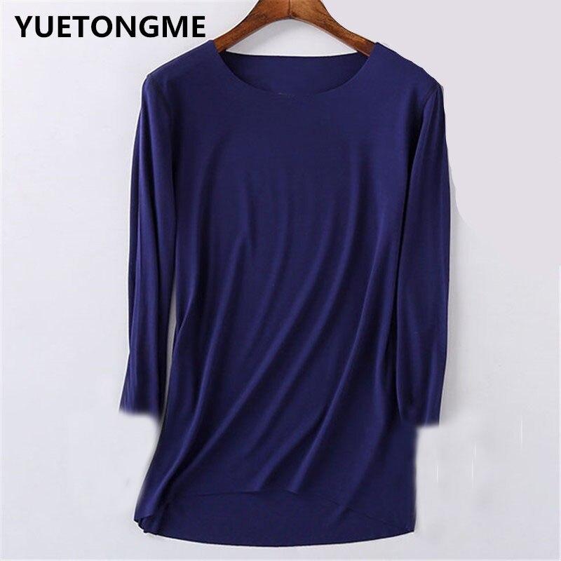Yuetongme 3/4 Mouwen O-hals Casual T-shirt Vrouwelijke Tees Elegante Dames Tees Tops BTL070