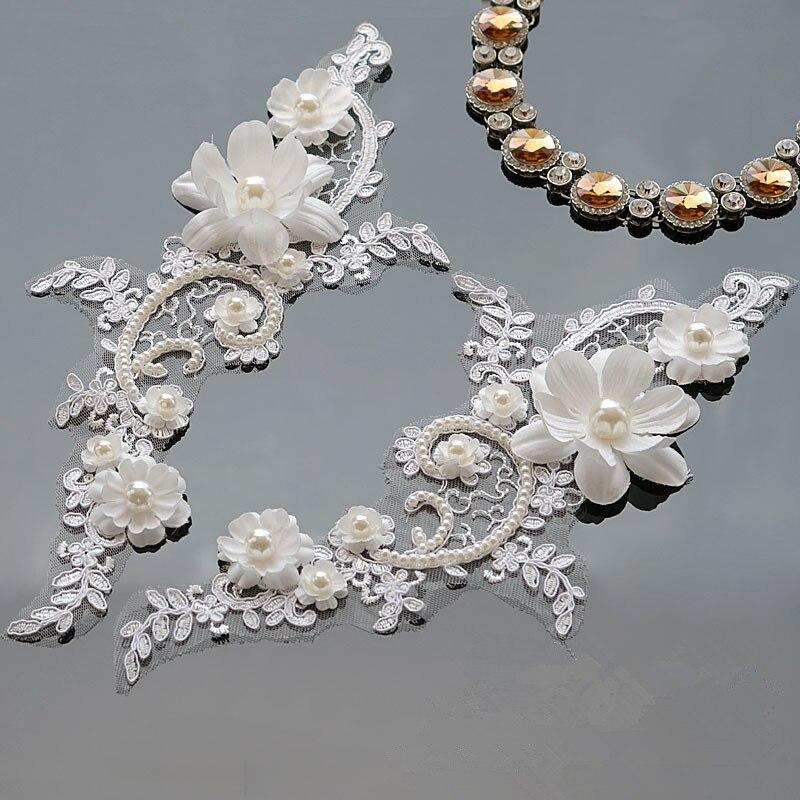 Off White delicado velo de boda adornos de cabeza encaje aplicaciones de adornos de encaje vestido de boda zapatos DIY accesorios de encaje
