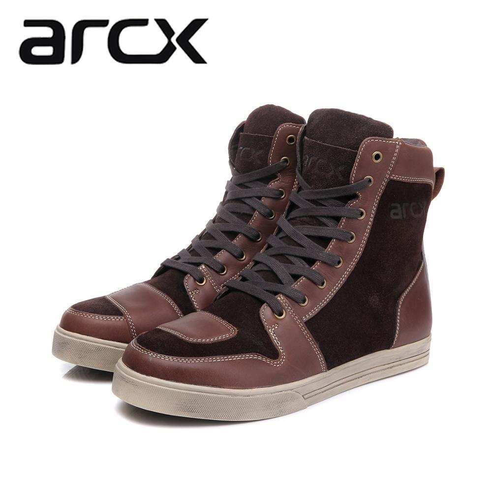 Botas impermeables para motocicleta ARCX, botas de montar para Moto, cuero de vaca auténtico, botas de motorista Chopper Cruiser, zapatos de paseo al tobillo