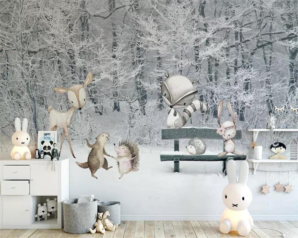 Обои на заказ для детской комнаты зимние снежные сцены Мультяшные животные мир ТВ фон настенная бумага фрески 3d обои