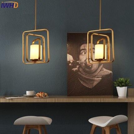 IWHD Iron Modern Led Pendant Light Fixtures Brief Gold Lamparas de techo colgante moderna Creative Glass Hanglamp Home Lighting