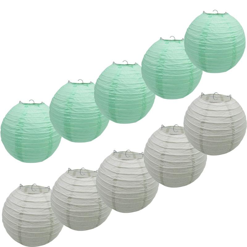 5 uds Pantalla de papel de colores y 5 uds farol de papel decorativo verde menta o gris