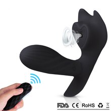 Black Mute Wearable Soft Silicone Strpon Vibrator Remote Control Dildo Vibrator G Spot Clit Suction Stimulate Sex Toys for Women