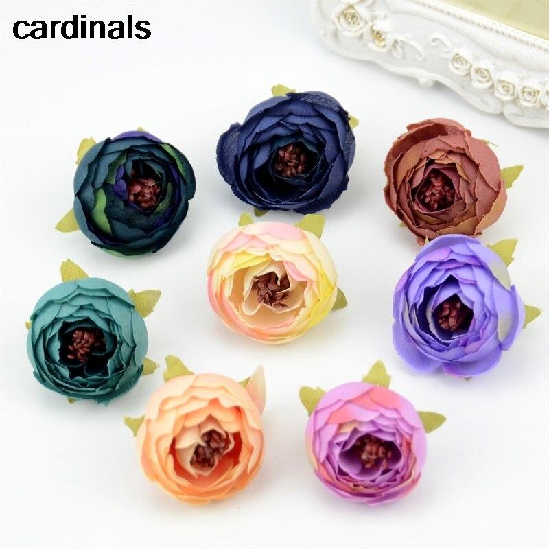 100 stücke 3,5 cm Mini Künstliche Rose Knospe Cut Blume Kopf Hochzeit Weihnachten Dekoration DIY Sreath Geschenk Handwerk Blumen Zubehör