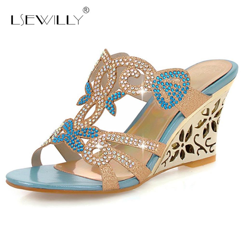 Lsewilly Novo 2018 Moda Sapatos de Festa de Verão Mulher Rhinestone Cut-outs Sandálias Cunhas Senhora Sexy Sandálias de Dedo Aberto Ouro azul S080