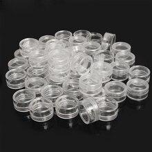 50Pcs 2.5ML Transparent Empty Storage Boxes Nail Art Tip Glitter Pot Box Container Nails Art Rhinestone Bead Gems Case