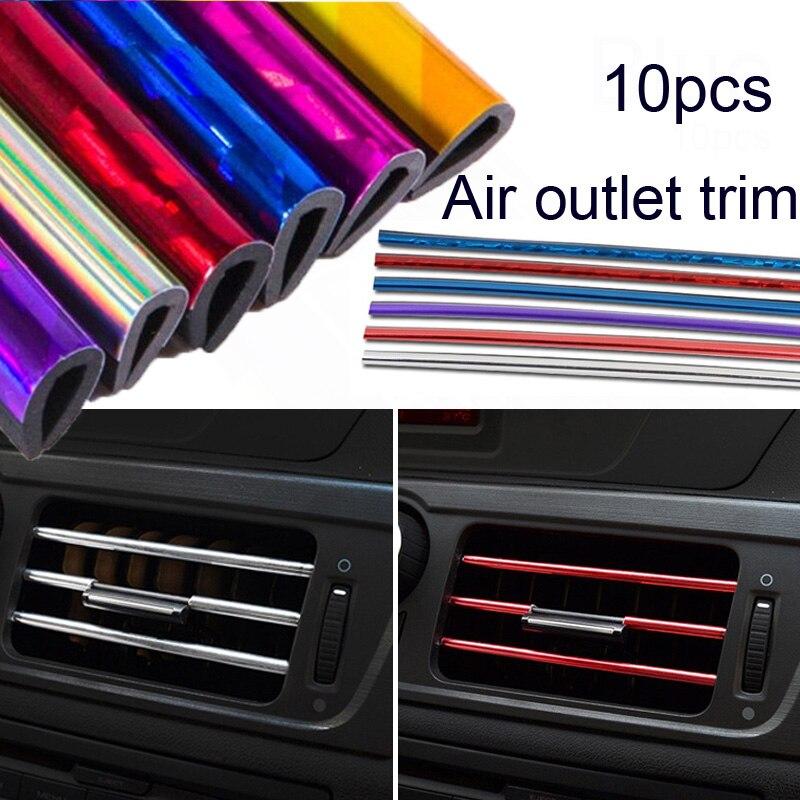 Tira de saída de ar para carro, tira de decoração estilo de carro, para saída de ar, interruptor de grade de ventilação e aro, tira de saída de ar, 10 peças diy automotivo