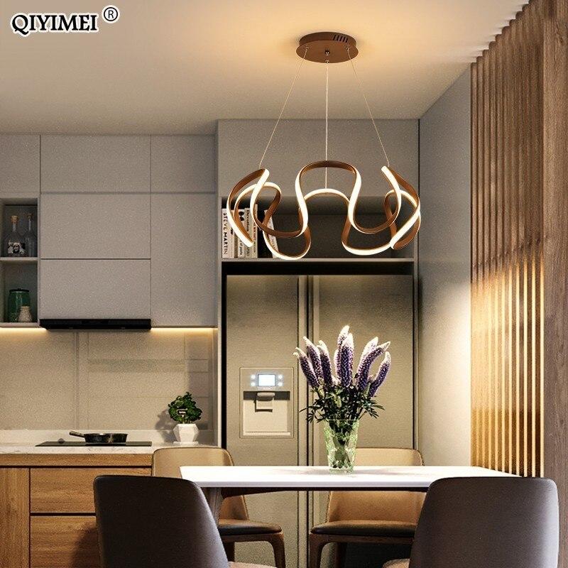 أبيض القهوة اللون Led الحديثة قلادة أضواء لتناول الطعام غرفة المعيشة المطبخ مصباح ألمنيوم الجسم معلقة الحبل تركيبات ديكو Abajur