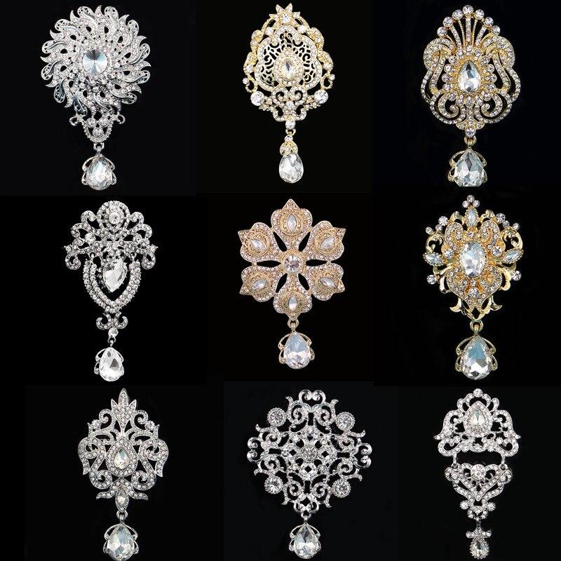 DIEZI, broches de cristal de Color plata y oro Vintage para boda, vestido de fiesta para mujer, ramo de novia de diamantes de imitación, broche de gota de agua, pins