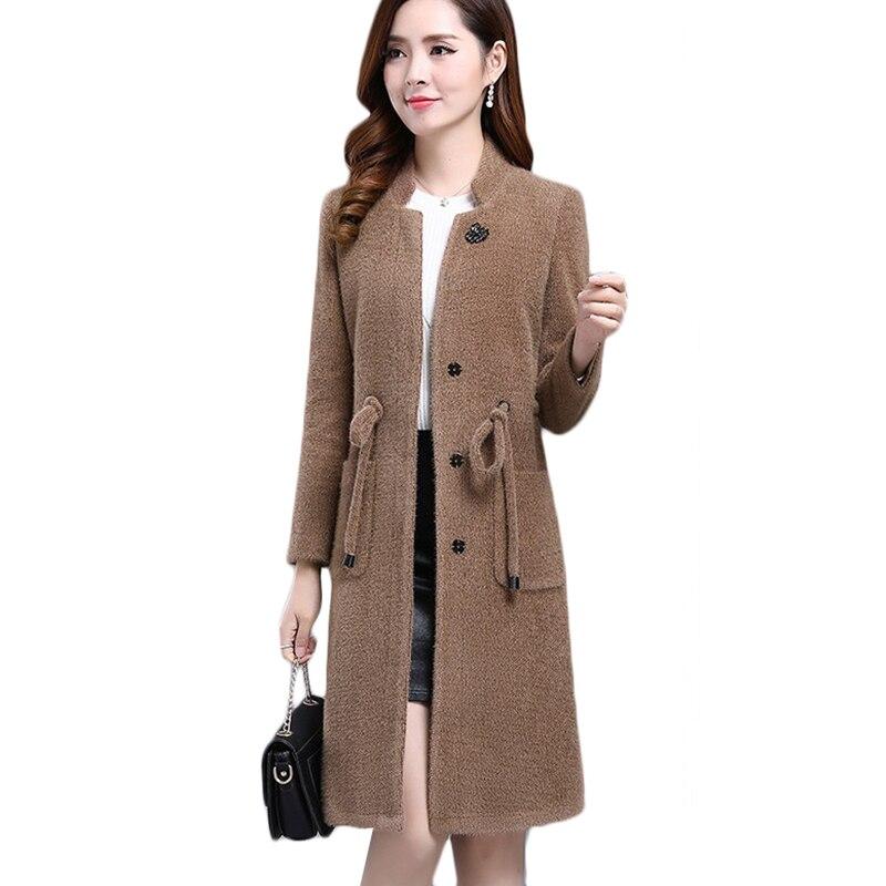 Nueva chaqueta de lana de terciopelo de agua para mujer Chaquetas gruesas de invierno abrigadas de talla grande chaquetas coreanas de lana larga abrigo de marea 4XL A1035