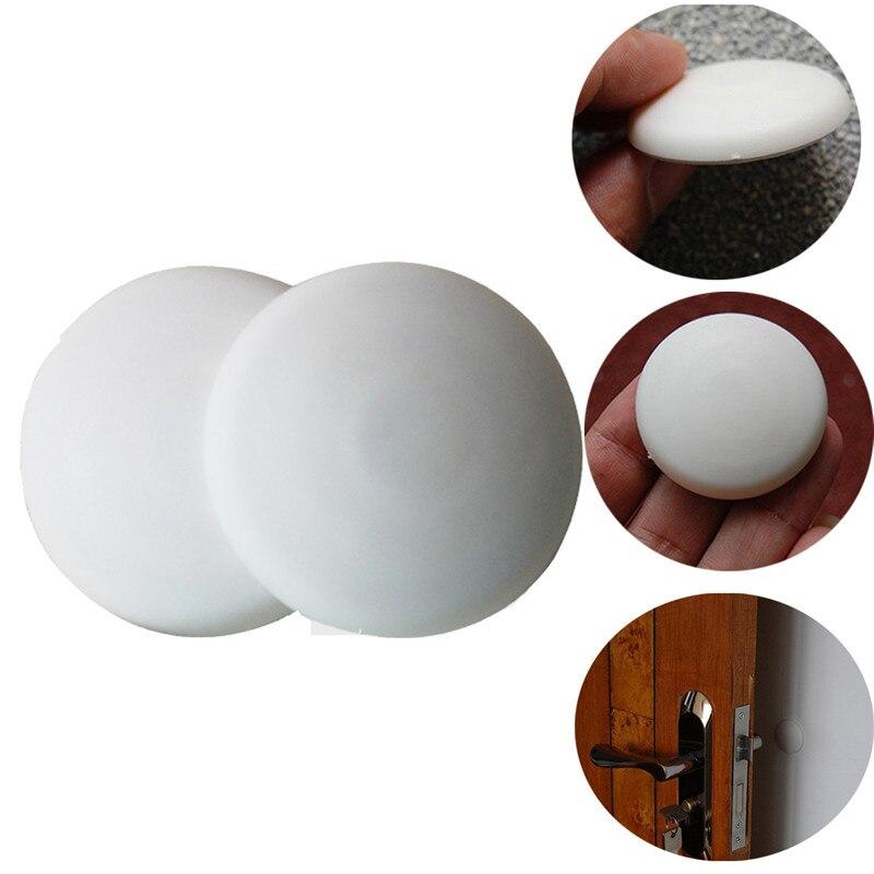 10 unids/lote de topes de puerta de goma blanca protectores de pared protectores autoadhesivos parachoques para Manilla de puerta topes previenen la manija de la puerta