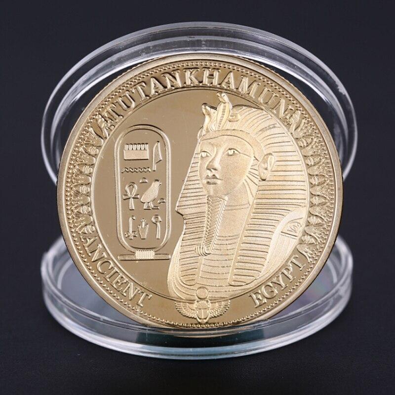 1 pçs banhado a ouro moedas antigo egito sphinx moedas para coleção presente desafio moeda
