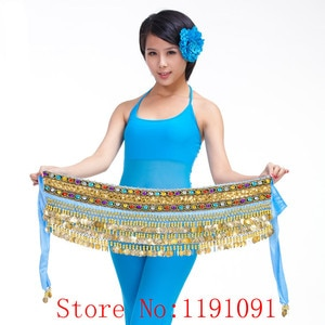 Belly dance costume clothes indian dance belt waist chain bellydance  hip scarf women girl dance with 248 coins,10colors