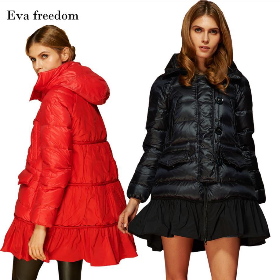 Venta al por mayor 2019 estaciones europeas de las mujeres nuevo 90% pato blanco largo abajo chaqueta un tipo raglán mangas chaqueta con capucha suelta w839