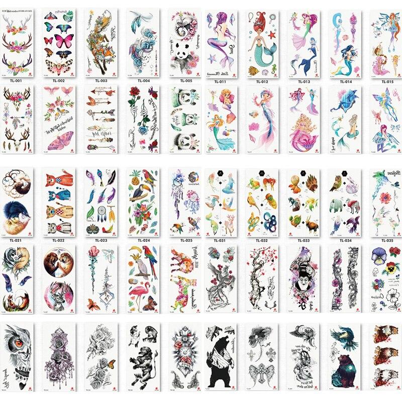 50 unids/lote de pegatinas de tatuaje temporal a prueba de agua para arte corporal, pegatinas 3D de tatuaje falso con patrón de águila rosa